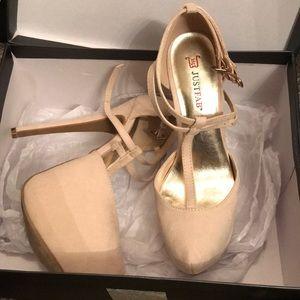Cream platform heels size 5.5